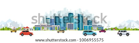 Urban landscape with large modern buildings, skyscrapers and suburb with private houses on a background mountains and hills. Street, highway with cars on white background. Royalty-Free Stock Photo #1006955575