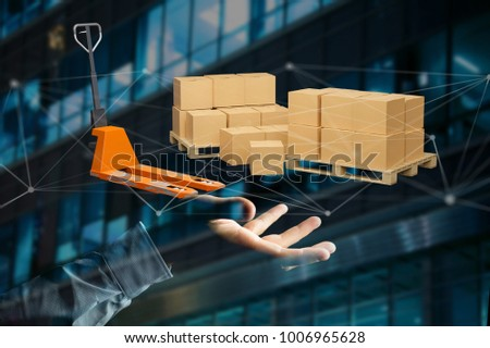 View of Pallet truck and carboxes with network connection system - 3d render #1006965628