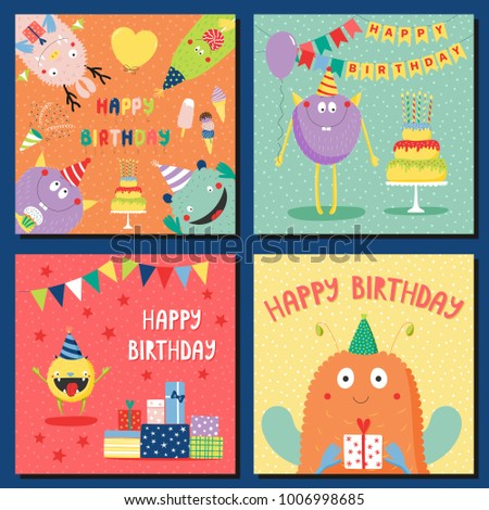 Set of hand drawn square birthday cards templates with cute funny cartoon monsters in party hats, typography. Vector illustration. Isolated objects. Design concept for children, birthday celebration.