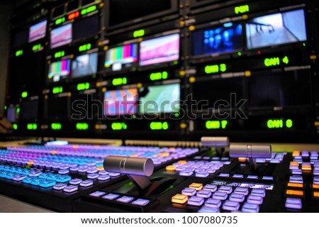 Equipment in outside broadcasting van Royalty-Free Stock Photo #1007080735