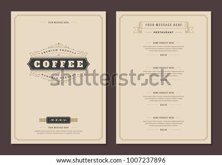 Coffee shop logo and menu design vector brochure template. Royalty-Free Stock Photo #1007237896