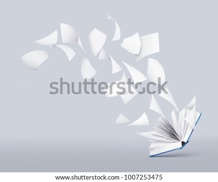 two blank books with flying pages  #1007253475
