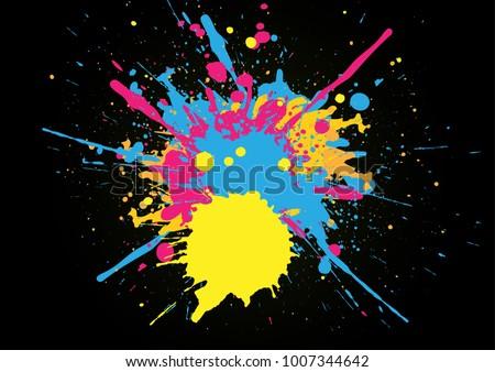 abstract splatter color on black color background. illustration vector design