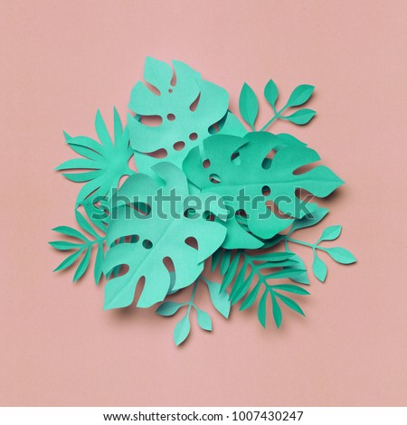3d rendering, paper art, tropical palm leaves, botanical background, pastel colors, tropical nature, foliage