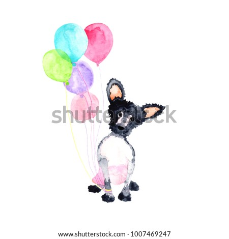 A water colored little dog with balloons, isolated, on the white background.