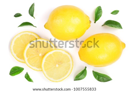 lemon and slices with leaf isolated on white background. Flat lay, top view #1007555833