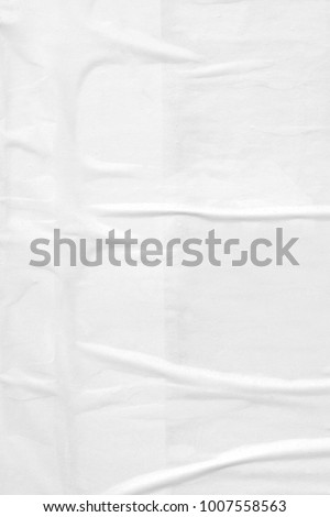 White blank paper texture background creased crumpled old poster placard texture backdrop surface #1007558563