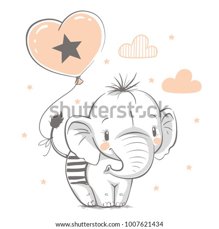 Cute elephant with balloon cartoon hand drawn vector illustration. Can be used for t-shirt print, kids wear fashion design, baby shower invitation card. Royalty-Free Stock Photo #1007621434