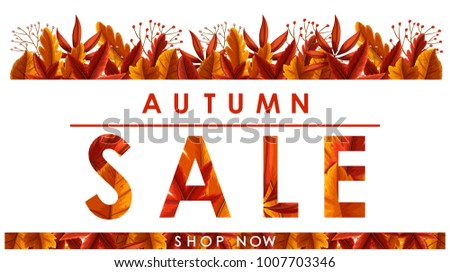 Autumn sale poster with leaves on white background