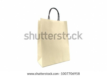 Blank paper shopping bag on white background. #1007706958