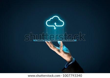 Cloud computing concept - connect devices to cloud. Businessman or information technologist with cloud computing icon and tablet. #1007793340