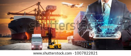 World map with logistic network distribution on background. Logistic and transport concept in front Industrial Container Cargo freight ship for Concept of fast or instant shipping, Online goods orders #1007822821