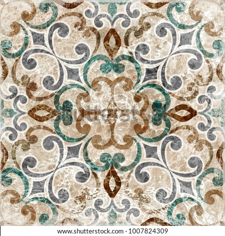Vintage Italian tile with Moroccan pattern