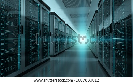 Dark server room data center storage interior 3D rendering #1007830012