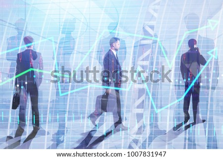 Businessmen on abstract city background. Meeting and trade concept. Double exposure  #1007831947
