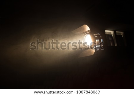 blur Studio led lighting . vintage production for movie smoke in dark room . electric equipment for photography , video maker