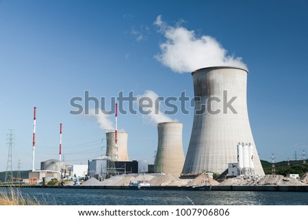 Tihange Nuclear Power Station in Belgium Royalty-Free Stock Photo #1007906806
