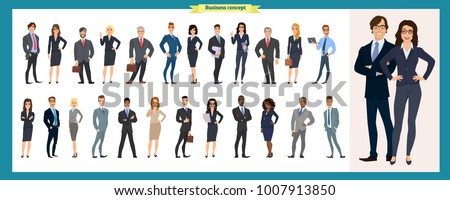 Set of business characters working in office. isolated vector design. International business team. Global corporate business people line-up. Large diverse group of office workers standing smiling