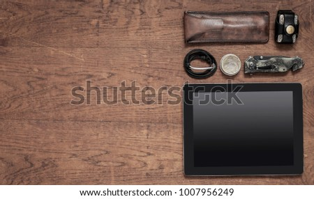 Men's accessories on wooden background #1007956249