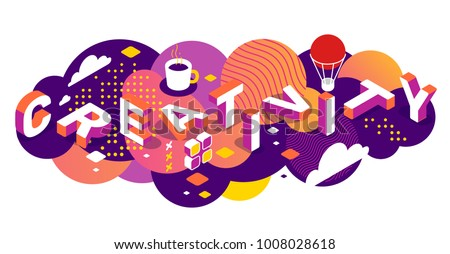 Creative idea concept with decor element. Vector creative horizontal illustration of 3d creativity word lettering typography on bright color background. Isometric template design for business banner Royalty-Free Stock Photo #1008028618