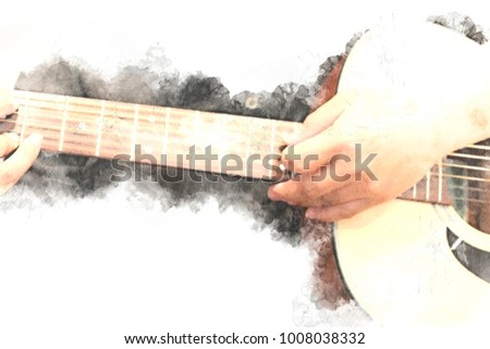 Abstract beautiful playing Guitar in the foreground on Watercolor painting background and Digital illustration brush to art. #1008038332