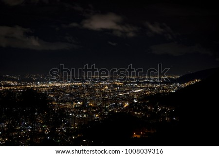 Panoramic view of Bogota, Colombia, at night. Picture taken from the mountains of La Calera