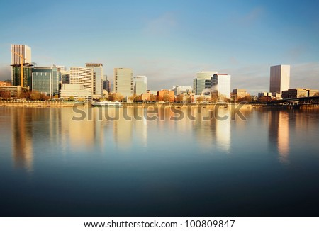 The Portland Downtown in Early morning Sunlight