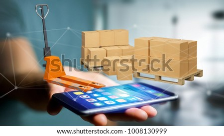 View of Pallet truck and carboxes with network connection system - 3d render #1008130999