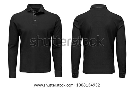Blank template mens black polo shirt long sleeve, front and back view, isolated on white background with clipping path. Design sweatshirt mockup for print. Royalty-Free Stock Photo #1008134932