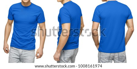 Young male in blank blue t-shirt, front and back view, isolated white background with clipping path. Design men tshirt template and mockup for print. #1008161974