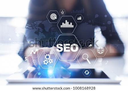 SEO. Search Engine optimization. Digital online marketing and Internet technology concept.  #1008168928