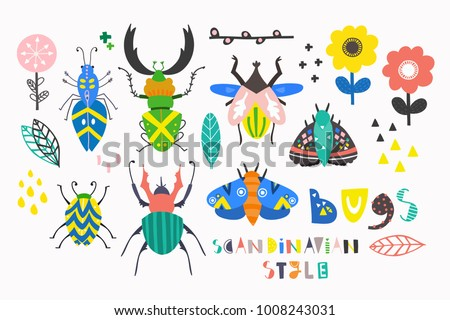 Scandinavian style bugs. Hand drawn colored vector set. All elements are isolated