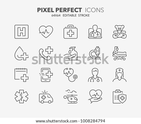 Thin line icons set of hospital and medical care. Outline symbol collection. Editable vector stroke. 64x64 Pixel Perfect. #1008284794