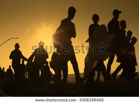 Abstract blur, bokeh, defocus - image for background. The refugees migrate to Europe #1008288460