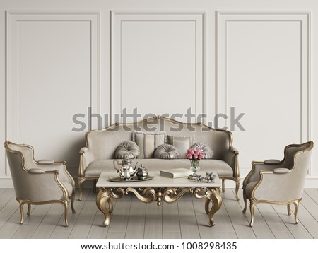 Interior with classic furniture mockup 3d rendering #1008298435