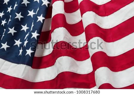 Closeup of rippled American flag #1008317680