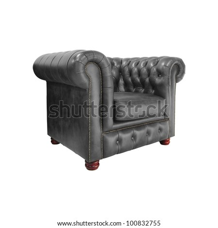 Classic Brown leather armchair isolated on white background with clipping path. #100832755