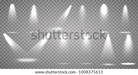 Scene illumination collection, transparent effects. Bright lighting with spotlights. #1008375613