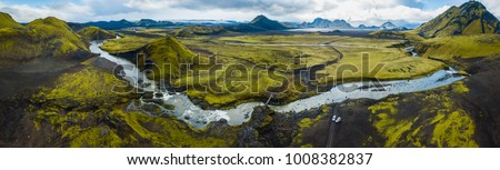 Panoramic view on green inland of Iceland #1008382837
