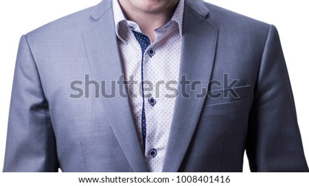 Front view closeup of businessman in grey suit. #1008401416