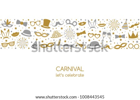 Carnival - banner in retro style with party icon decorations. Vector. #1008443545
