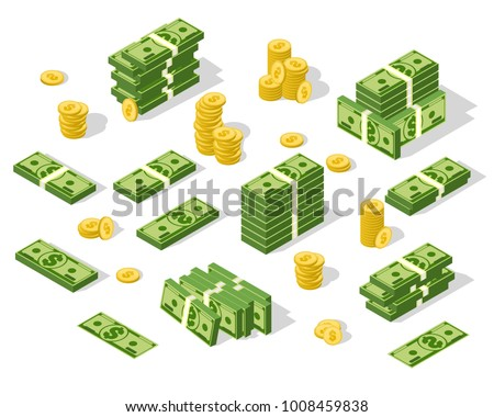 Set of isometric money isolated on white background. Golden coins and paper dollars illustration. A lot of cash money. #1008459838