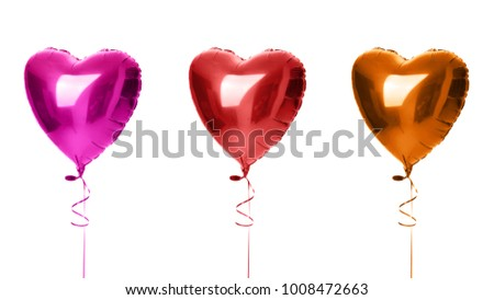 Three big heart balloons composition red orange and purple objects for birthday isolated party isolated on a white background