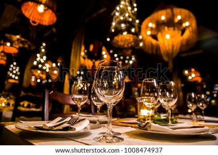 luxury elegant table setting dinner in a restaurant #1008474937