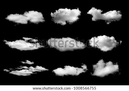 Set of White cloud on black #1008566755