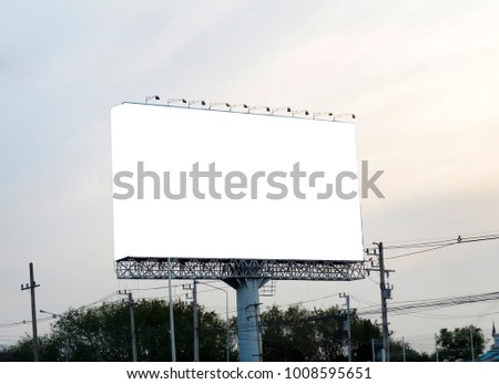Blank billboard on blue sky background for new advertisement. #1008595651