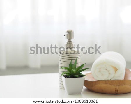 spa towels on white surface #1008613861