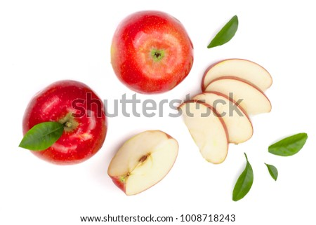 red apples with slices and leaves isolated on white background top view. Set or collection. Flat lay pattern #1008718243