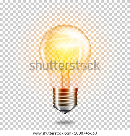 Transparent realistic glowing light bulb, isolated. Royalty-Free Stock Photo #1008745660