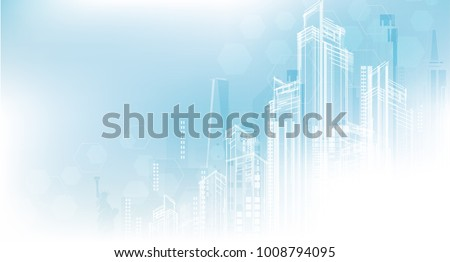 City background architectural with drawings of modern for use web, magazine or poster vector design. Royalty-Free Stock Photo #1008794095